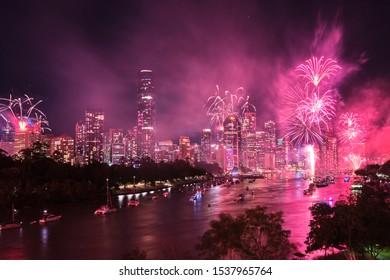 Brisbane, Queensland / Australia - September 28th 2019: Brisbane Riverfire fireworks display 2019 looking towards the CBD