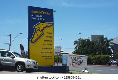 Brisbane, Queensland - December 11 2018: Goodyear Autocare, Gympie Road, Chermside.