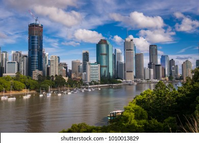 Brisbane, Queensland/Australia - 22 January 2018: Elevated views of Brisbane City across the Brisbane River from above the Kangaroo Point Cliffs.