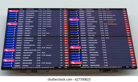 BRISBANE, QUEENSLAND/AUSTRALIA April 10: An airport departures and arrivals board inside Brisbane domestic airport on April 10, 2017.
