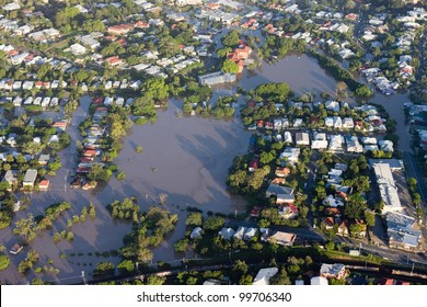 Brisbane River Flood January 2011 Aerial View Milton Homes and Park. Aerial view of the residential area of the suburb of Milton during the great Brisbane Flood of 2011.