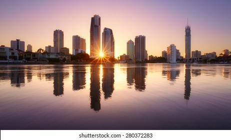 Brisbane skyline at sunrise, Australia