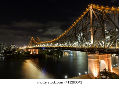 Brisbane Story Bridge by night from the southern end of the bridge