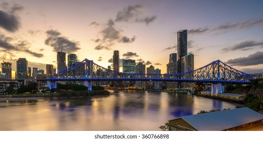 BRISBANE,QLD/AUSTRALIA - JANUARY 10, 2016: panoramic view over Story Bridge and Brisbane skyline after sunset