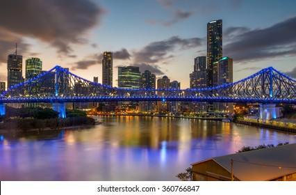 BRISBANE,QLD/AUSTRALIA - JANUARY 10, 2016: View over Story Bridge and Brisbane city after sunset