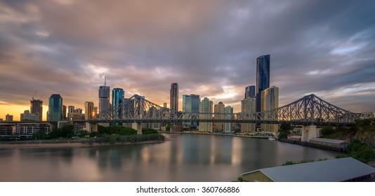 BRISBANE,QLD/AUSTRALIA - JANUARY 10, 2016: view over Story Bridge and Brisbane city skyline at the sunset