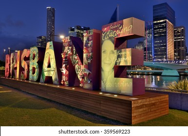 BRISBANE,QLD/AUSTRALIA - NOVEMBER 13, 2014: View on freshly installed Brisbane sign and buildings of the city illuminated for G20 summit.