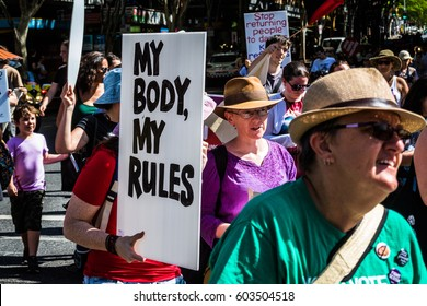Brisbane,Queensland,Australia- Mar.11.2017;Woman's day march held in the down town core.