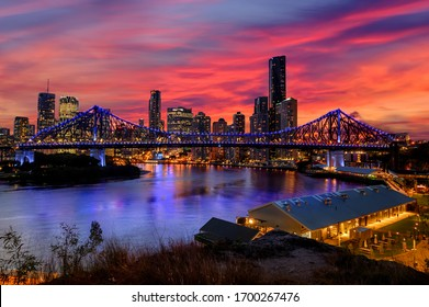 Brisbane's story bridge at twilight colorful evening after sunset Queensland
