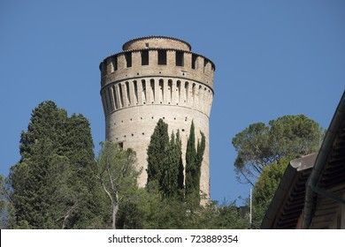 Brisighella (Ravenna, Emilia Romagna, Italy): historic buildings in the Guglielmo Marconi square: tower