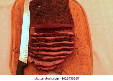 Brisket beef sliced top view