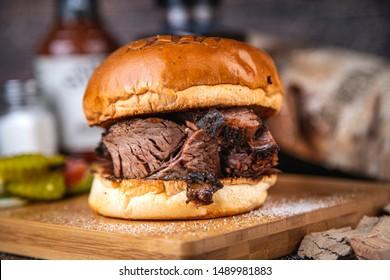 brisket bun burger sandwich angus