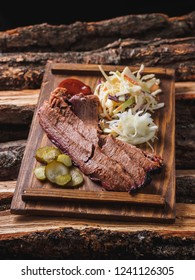 Brisket meat beaf bbq with cole slaw, jalapeno and onion.