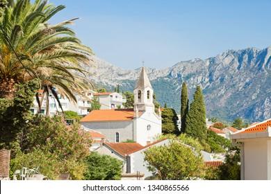 Brist, Dalmatia, Croatia, Europe - Church of Brist in front of the mountains