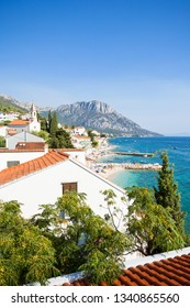 Brist, Dalmatia, Croatia, Europe - Overview across the beautiful beach of Brist