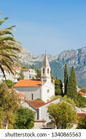 Brist, Dalmatia, Croatia, Europe - Steeple of Brist in front of the mountains