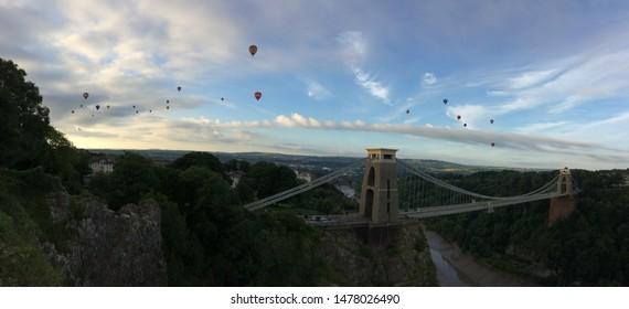 Bristol Balloon Fiesta Panorama at suspension bridge