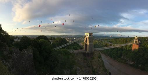 Bristol Balloon Fiesta at suspension bridge Panorama