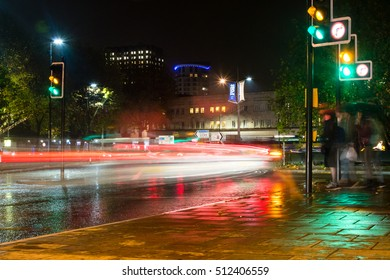 Bristol by night, captured near St James Barton Roundabout light motion-blur