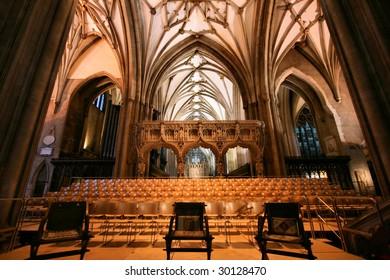 Bristol Cathedral interior. Old, beautiful church. Famous landmark.
