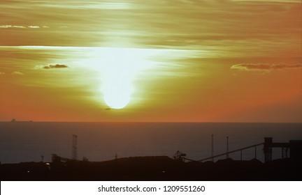 Bristol Channel Sunset Overlooking Port Talbot Steel Works