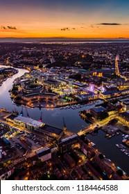Bristol City Landscape View Night Ariel