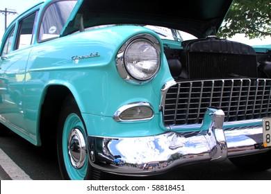 BRISTOL, CT., USA-JULY 31: Bristol Vintage Annual Car Show-1956 Chevy model, July 31, 2010 in Bristol, Connecticut, USA