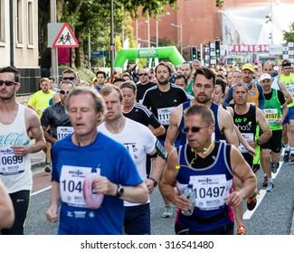 Bristol, England - 13 SEPTEMBER 2015 Bristol Half Marathon 2015 - unidentified runners B