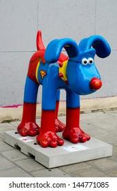 BRISTOL England - 3 JUL - Gromit as 'Hero' at Subway Harbourside, Bristol on 3 July 2013.  80 statues of Gromit have been placed in Bristol and surrounding areas as part of a charity appeal.