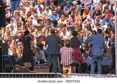 BRISTOL, ENGLAND - AUGUST 1: Band on the Cascade Steps stage at the Harbour Festival in Bristol, England on August 1, 2010. The three day free festival played host to more than 250,000 spectators
