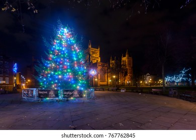 Bristol, England - Dec 3, 2017: Christmas Tree and Lights in front of Bristol Cathedral A, Long Exposure Night Photography