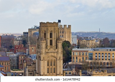 Bristol, England - December 24, 2019: Aerial cityscape view from the Cabot Tower in a winter afternoon, on the city center and university buildings