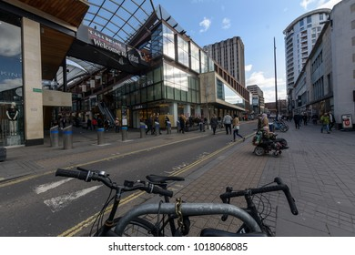 Bristol, England - Feb 1, 2018: Entrance to Cabot Circus, view from The Horsefair, Shopping Quarter in Bristol City Centre