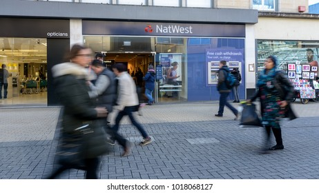 Bristol, England - Feb 1, 2018: Entrance to NatWest Bank, view from Broadmead, Shopping Quarter in Bristol City Centre