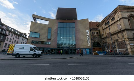 Bristol, England - Feb 1, 2018: Colston Hall Facade, concert hall staging classical and pop performers, comedy and festival shows
