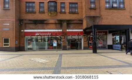 Bristol, England - Feb 1, 2018: Entrance to Santander Bank, view from Merchant Street, Shopping Quarter in Bristol City Centre