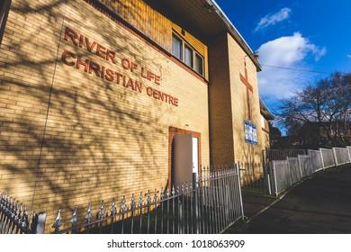 Bristol, England - Feb 5, 2018: River of Life Christian Centre Entrance, Gospel Church in Hartcliffe, South Bristol