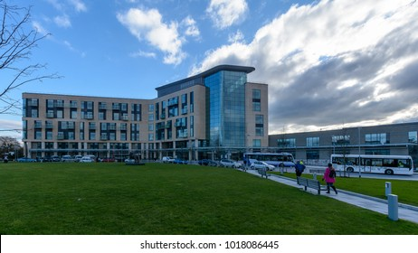 Bristol, England - Feb 5, 2018: Southmead Hospital Brunel Building B, Horizontal Photography