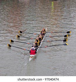 BRISTOL, ENGLAND - FEBRUARY 19: Crew from the Minerva Rowing Club in Bath competing in the annual Head of the River race in Bristol, England on February 19, 2012. 100 teams entered the 3,300 metre race