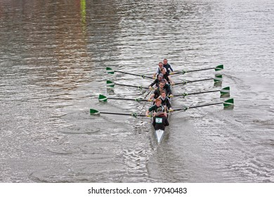 BRISTOL, ENGLAND - FEBRUARY 19: Eight crew from the City of Bristol Rowing Club pulling in harmony during the annual Head of the River race in Bristol, England on February 19, 2012. 100 teams entered.