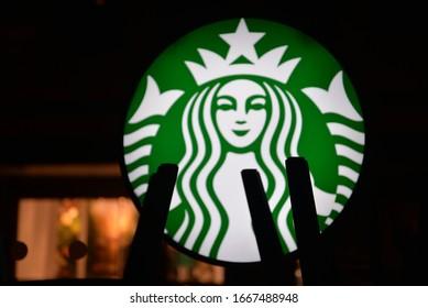 Bristol, England – February 20, 2020: Starbucks Logo (American Coffee Company and Coffeehouse Chain Founded in Seattle, Washington, USA) in Bristol, England, United Kingdom, Europe