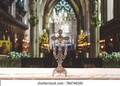 Bristol, England - Jan 01, 2018: Altar Cross in Bristol Cathedral, Shallow Depth of Field Horizontal Photography