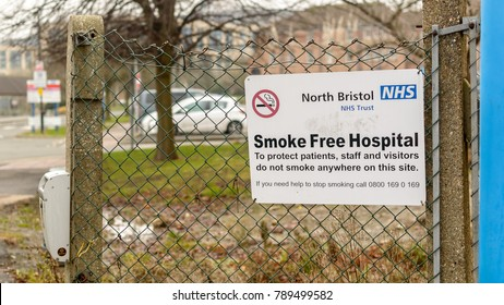 Bristol, England - Jan 6, 2018: NHS North Bristol Smoke Free Hospital, Close up of Information Sign in Southmead Hospital, National Health Service
