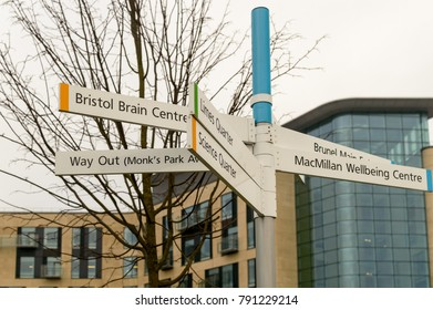 Bristol, England - Jan 6, 2018: Bristol Southmead Hospital Direction Sign Brunel Quarter A, Way out, Bristol Brain Centre, Bristol Breast Care Centre, MacMillan Wellbeing Centre, Limes Quarter