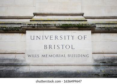 BRISTOL, ENGLAND - JANUARY 15, 2020: University of Bristol sign at Wills Memorial Building in Bristol, England