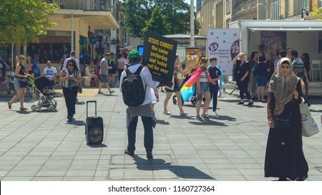 Bristol, England - July 14, 2018: Christian Street Preacher in Bristol City Centre, Diversity in Britain, Shallow Depth of Field