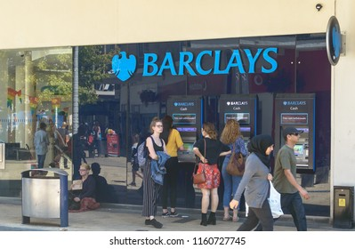 Bristol, England - July 14, 2018: Barclays Cash Machine in Bristol City Centre, City Life in Britain, Shallow Depth of Field