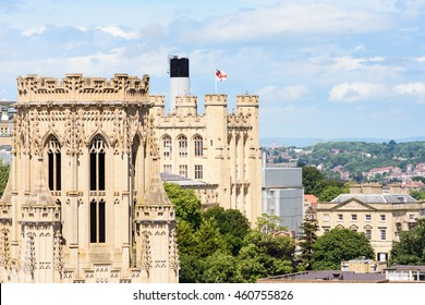 Bristol, England - July 17, 2016: The University of Bristol's distinctive Victorian gothic Wills Memorial Building and School of Physics standing prominent over the cityscape.