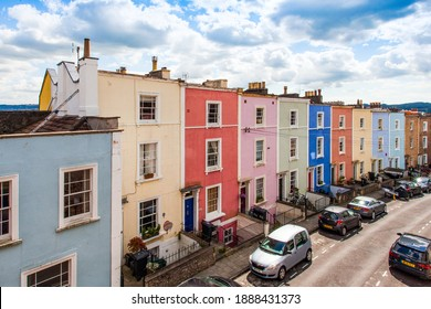 Bristol, England - July 30th 2017: A row of colourfully painted terraced houses in the area of Totterdown