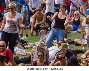 BRISTOL, ENGLAND - JULY 31: Audience members dance to music at the annual Harbour Festival in Bristol, England on July 31, 2011. The free event played host to a record 280,000 spectators